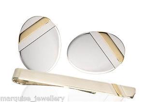 【送料無料】メンズアクセサリ― スターリングシルバーゴールドストライプカフスボタンタイクリップ925 sterling silver 9ct gold stripe cufflinks tie clip set