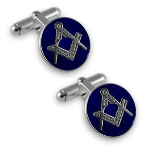 【送料無料】メンズアクセサリ― スターリングフリーメーソンエナメルカフスリンクsterling silver masonic blue enamel round cufflinks