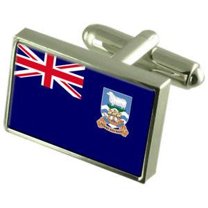 【送料無料】メンズアクセサリ― フォークランドボックススターリングシルバーフラッグカフリンクスfalkland islands sterling silver flag cufflinks in engraved personalised box