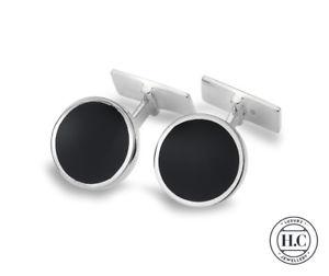 【送料無料】メンズアクセサリ― スターリングシルバーシルバーオニキスサークルカフリンクスgenuine sterling silver silver onyx circle cufflinks
