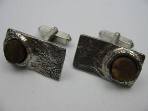 【送料無料】メンズアクセサリ― englaヴィンテージデザイナーカフスリンク835engla vintage modernist designer cufflinks 835 silver with tiger eye