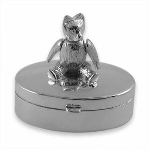 【送料無料】メンズアクセサリ― スターリングシルバーテディベアボックスオンsterling silver oval teddy bear tooth box