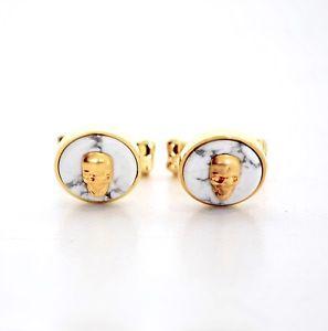 【送料無料】メンズアクセサリ― アレキサンダーマックイーンゴールドスカルカフスボタンalexander mcqueen gold 3d skull amp; marble cufflinks perfect gift