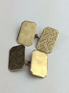 【送料無料】メンズアクセサリ― ゴールドチェーンリンクカフリンクスhallmarked 9ct 375 gold chain link cufflinks