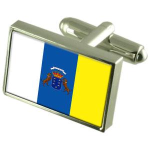 【送料無料】メンズアクセサリ― カナリアボックススターリングシルバーフラッグカフリンクスcanary islands sterling silver flag cufflinks in engraved personalised box