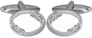 【送料無料】メンズアクセサリ― エッジスターリングシルバーカフリンクスoval engraved edge hallmarked sterling silver cufflinks