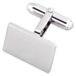 【送料無料】メンズアクセサリ― 925ブランクカフスリンクsterling 925 solid silver rectangular blank oblong cufflinks engraved box