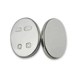【送料無料】メンズアクセサリ― カフリンクスheavy sterling silver hallmark oval cufflinks