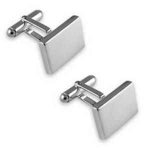 【送料無料】メンズアクセサリ― カフリンクスsterling silver heavyweight plain rectangular cufflinks