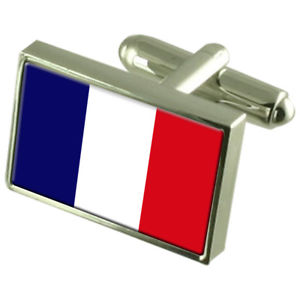 【送料無料】メンズアクセサリ― フランスボックススターリングシルバーカフリンクスfrance sterling silver flag cufflinks in engraved personalised box