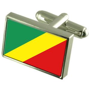 【送料無料】メンズアクセサリ― ボックススターリングシルバーカフリンクスcongobrazzaville sterling silver flag cufflinks in engraved personalised box