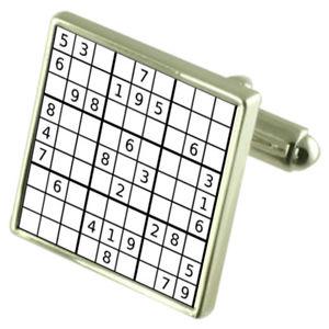 【送料無料】メンズアクセサリ― パズルスターリングシルバーカフリンクスオプションボックスオンsudoku puzzle sterling silver cufflinks optional engraved box