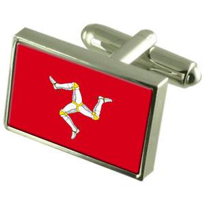 【送料無料】メンズアクセサリ― ボックスカフリンクスアイルisle of man sterling silver flag cufflinks in engraved personalised box