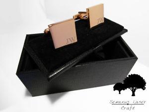 【送料無料】メンズアクセサリ― ローズゴールドカフスボタンアンプパーソナライズボックスカフリンクengraved rose gold cufflinks amp; personalised gift box cuff links wedding rgcls5