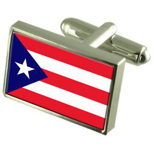 【送料無料】メンズアクセサリ― プエルトリコボックススターリングシルバーカフリンクスpuerto rico sterling silver flag cufflinks in engraved personalised box