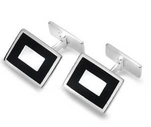 【送料無料】メンズアクセサリ― スターリングシルバーオニキスカフリンクスsterling silver onyx rectangle cufflinks