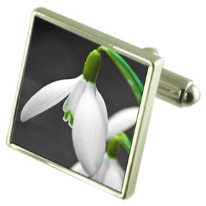 【送料無料】メンズアクセサリ― スノードロップスターリングシルバーカフリンクスオプションボックスオンflower snowdrop sterling silver cufflinks optional engraved box