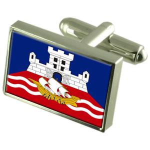 【送料無料】メンズアクセサリ― ベオグラードセルビアスターリングフラグカフスリンクbelgrade city serbia sterling silver flag cufflinks engraved box