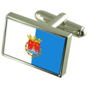 【送料無料】メンズアクセサリ― アリカンテスペインスターリングフラグカフスリンクalicante city spain sterling silver flag cufflinks engraved box