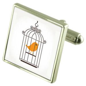 【送料無料】メンズアクセサリ― オプションカナリアスターリングカフスリンクcanary bird cage sterling silver cufflinks optional engraved box