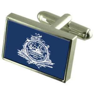 【送料無料】メンズアクセサリ― チャールストンアメリカスターリングシルバーフラグカフスボタンボックスcharleston city usa sterling silver flag cufflinks engraved box