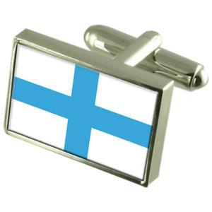 【送料無料】メンズアクセサリ― マルセイユフランススターリングシルバーフラグカフスボタンボックスmarseille city france sterling silver flag cufflinks engraved box