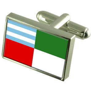 【送料無料】メンズアクセサリ― エクアドルスターリングシルバーフラグカフスボタンボックスportoviejo city ecuador sterling silver flag cufflinks engraved box