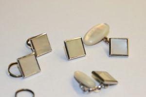 【送料無料】メンズアクセサリ― アールデコドレススタッドボルトカフスボタン9ct silver art deco dress stud set with cufflinks