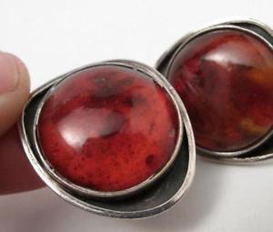 【送料無料】メンズアクセサリ― ポーランドビンテージスターリングシルバーオレンジカフリンクスミッドセンチュリーvintage polish modernist orno sterling silver amp; amber cufflinks mid century