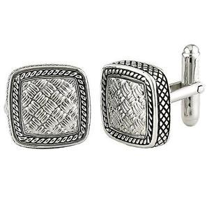 【送料無料】メンズアクセサリ― カンデラスターリングシルバーパターンケーブルスクエアカフスボタンandrea candela sterling silver weave pattern cable square cufflinks acm02sl