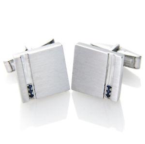 【送料無料】メンズアクセサリ― 925 スターリング012ctサファイアカフスリンクmens925 sterling silver square 012ct real natural blue sapphire cufflinks mens gift