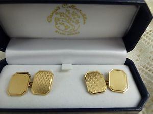 【送料無料】メンズアクセサリ― イエローゴールドカフスボタングラムheavy 9ct yellow gold patterned cufflinks boxed 7 grams