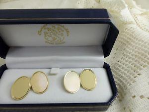 【送料無料】メンズアクセサリ― イエローゴールドカフリンクスグラム9ct yellow gold oval cufflinks boxed 5grams