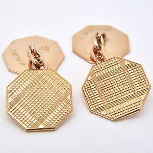 【送料無料】メンズアクセサリ― 9ctローズブドウカフスリンクチェーンリンク14mm9ct rose gold vintage engraved cufflinks chain link 14mm