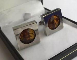 【送料無料】メンズアクセサリ― ビンテージバルトオレンジカボションスターリングシルバーメンズカフリンクスvintage unusual baltic honey amber cabochon hm sterling silver mens cufflinks