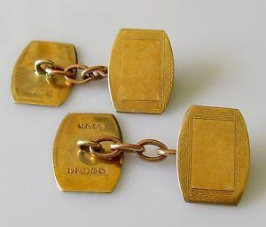 【送料無料】メンズアクセサリ― ヴィンテージ9ctイェローゴールドチェーンリンクカフスリンクvintage 9ct yellow gold engraved hexagonal chain link cufflinks