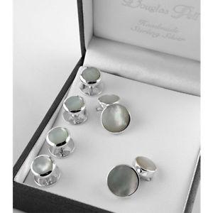 【送料無料】メンズアクセサリ― パールシャツスタッドスターリングシルバーセットsterling silver mother of pearl shirt stud amp; cufflink set