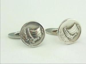 【送料無料】メンズアクセサリ― ビンテージヴァイキングシルバーカフリンクスvintage georg jensen viking ship silver cufflinks