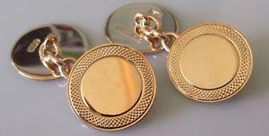 【送料無料】メンズアクセサリ― george vi 9ct rose gold round shield chainlink cufflinksgeorge vi 9ct rose gold round shield chain link cufflinks