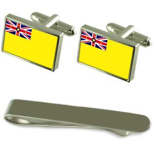 【送料無料】メンズアクセサリ― ニウエシルバーカフスボタンタイクリップボックスセットniue flag silver cufflinks tie clip box gift set