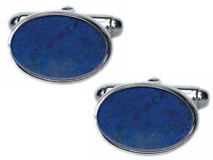 【送料無料】メンズアクセサリ― ラピスラズリシルバーカフリンクスlapis lazuli silver oval cufflinks