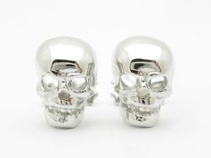 【送料無料】メンズアクセサリ― プラチナカスタムハンドメイドスカルデザインカフスボタンplatinum sterling silver custom hand made 3d skull amp; bone design cufflinks gift