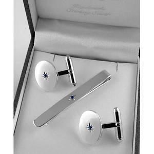 【送料無料】メンズアクセサリ― スターリングシルバーサファイアタイスライドセットsterling silver sapphire tie slide amp; cufflink set