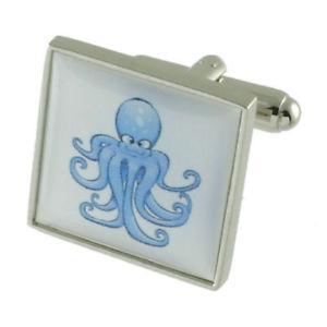 【送料無料】メンズアクセサリ― タコシーカフスボタンソリッドスターリングシルバーパーソナライズボックスオンoctopus sea cufflinks solid sterling silver 925 personalised engraved box