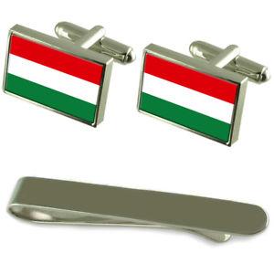 【送料無料】メンズアクセサリ― ハンガリーシルバーカフスボタンタイクリップボックスセットhungary flag silver cufflinks tie clip box gift set