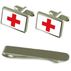 【送料無料】メンズアクセサリ― シルバーカフスボタンタイクリップボックスセットred cross flag silver cufflinks tie clip box gift set