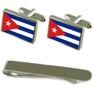 【送料無料】メンズアクセサリ― キューバシルバーカフスボタンタイクリップボックスセットcuba flag silver cufflinks tie clip box gift set