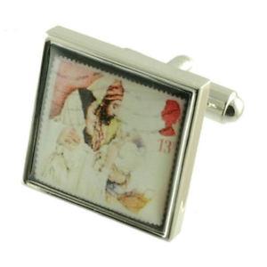 【送料無料】メンズアクセサリ― クリスマススタンプカフスボタンソリッドスターリングシルバーパーソナライズボックスオンchristmas stamp cufflinks solid sterling silver 925 personalised engraved box