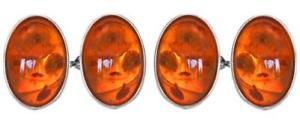 【送料無料】メンズアクセサリ― オレンジダブルチェーンスターリングシルバーカフリンクスamber oval double chain sterling silver cufflinks