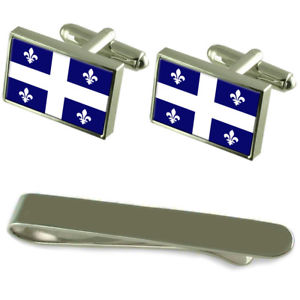 【送料無料】メンズアクセサリ― ケベックシルバーカフスボタンタイクリップボックスセットqubec flag silver cufflinks tie clip box gift set